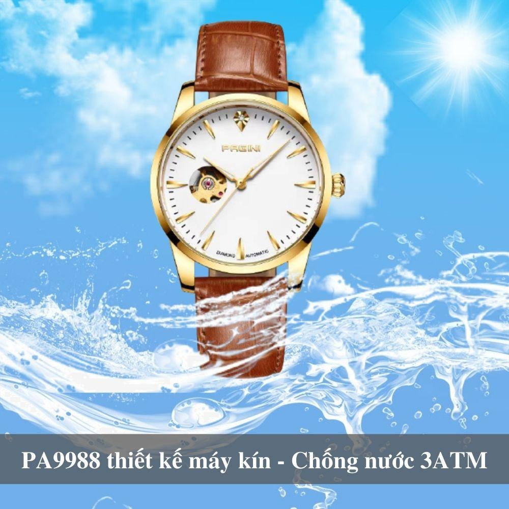 Đồng Hồ Cơ Nam Cao Cấp Chính Hãng PAGINI Automatic Pa9988 Dây Da - Chống Nước 3ATM Lộ Máy Đẳng Cấp - Mạnh Mẽ Thời Thượng 4