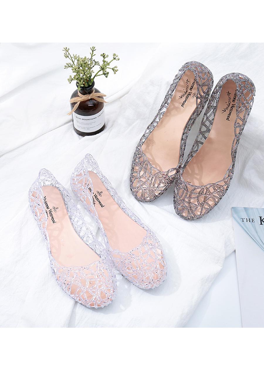 Giày búp bê nữ đế bằng nhựa đi mưa siêu bền đi thoáng và êm chân full size nhiều màu V217 5