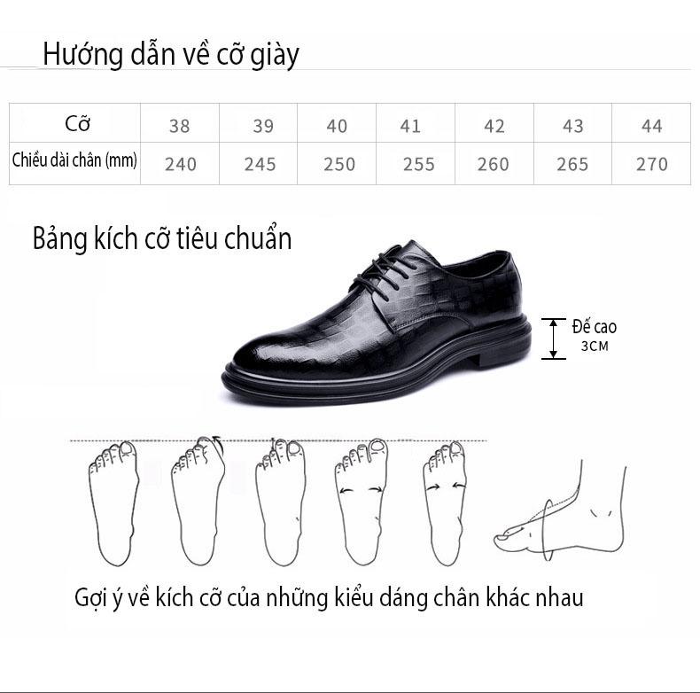 Giày da giày da nam cao cấp độn đế giày tăng chiều cao mã 36800-G đế cao 6cm 1