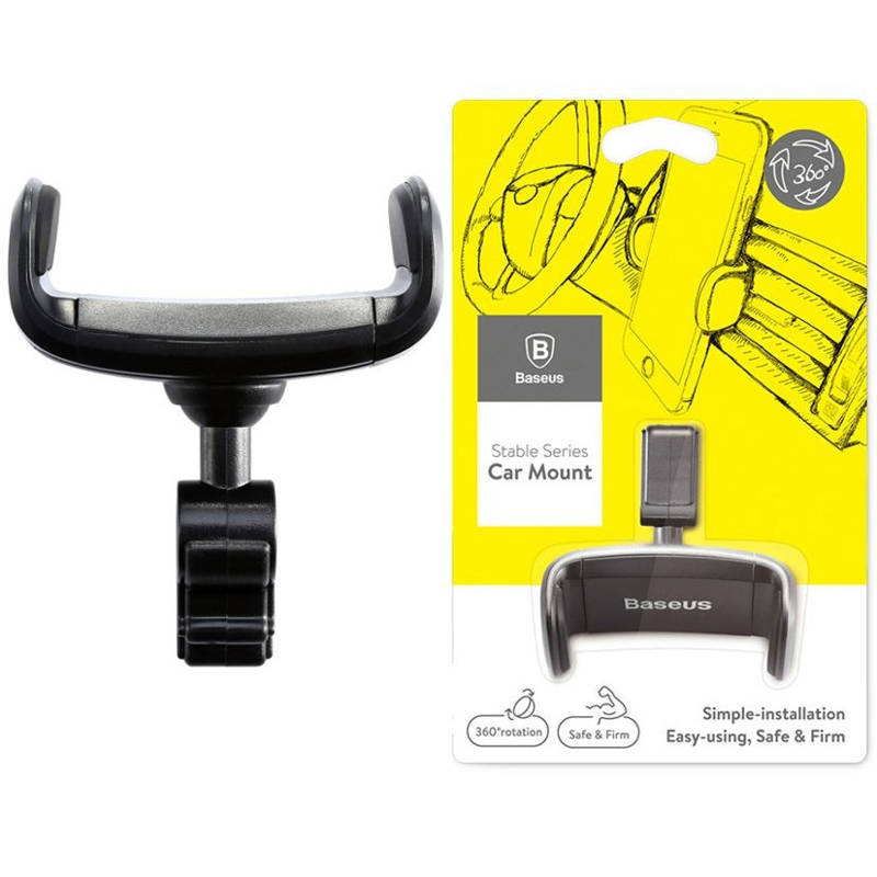 Giá đỡ điện thoại 360 siêu bền dành dùng cho xe hơi chất liệu ABS và Silicon chống trơn trượt -Baseus Stable series  - Hàng Chính Hãng
