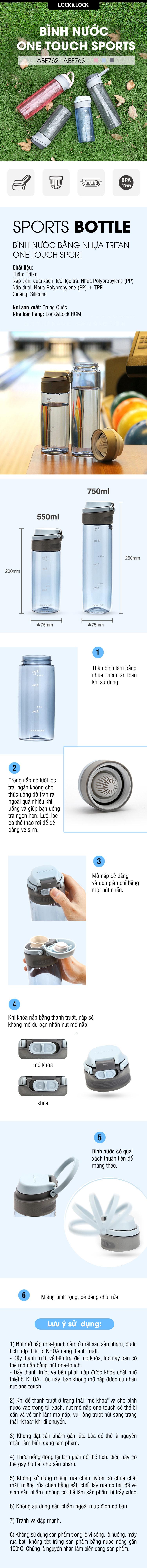 Bình Nước Bằng Nhựa Tritan One Touch Sport Lock&Lock ABF763GRY - Xám (750ml)