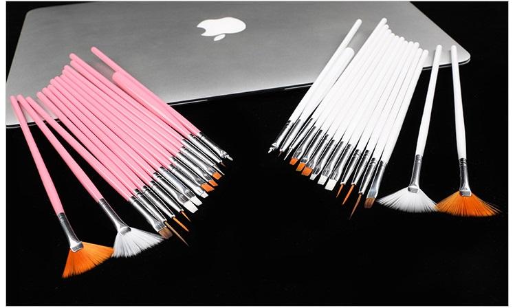 Bộ cọ vẽ móng tay, móng chân 15 cây chuyên nghiệp giúp trang trí móng nhanh chóng, tiện lợi, nhiều màu, giao màu ngẫu nhiên+ Tặng kèm hình dán ngẫu nhiên 5