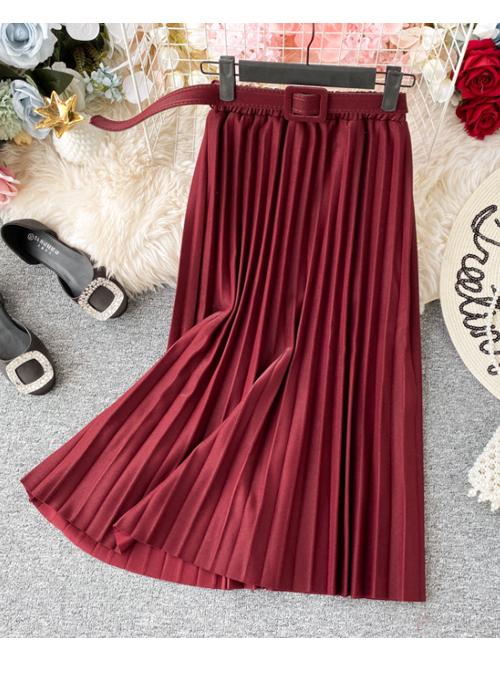 Chân váy xếp ly dáng dài có đai chất vải không nhăn Free size (VAY36) 6