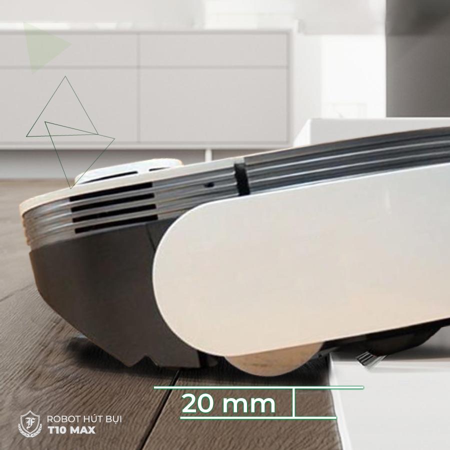Với bánh lăn lớn, robot hút bụi lau nhà T10 Max dễ dàng vượt chướng ngại vật 20mm