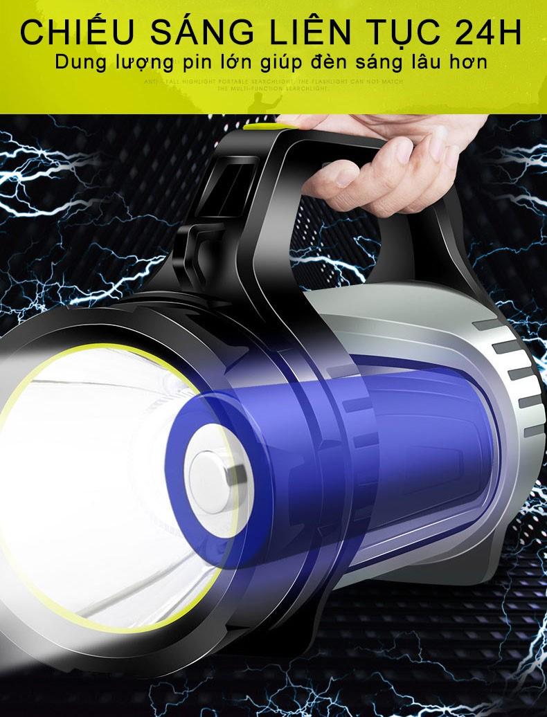 Đèn pin siêu sáng cầm tay chiếu xa 1000m, đèn pin đa năng sạc điện thoại