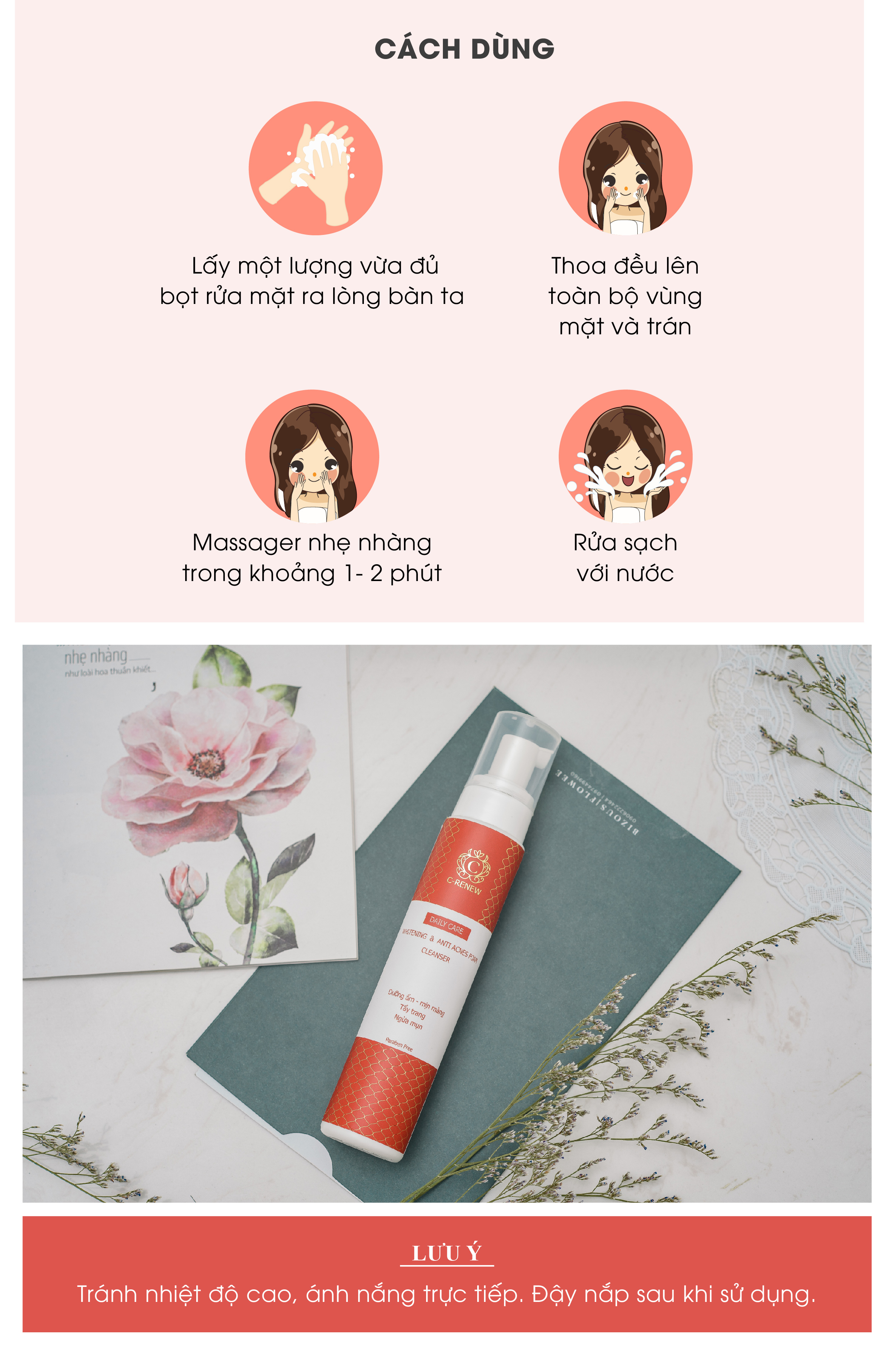 Bọt Rửa Mặt, Tẩy Trang, Ngừa Mụn C-RENEW 4
