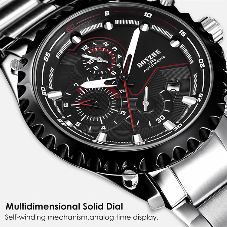 BOYZHE WL022-G Watch Brand Luminous Waterproof Business Full-automatic Mechanical Men Stainless Steel Wrist Watch with - sliver