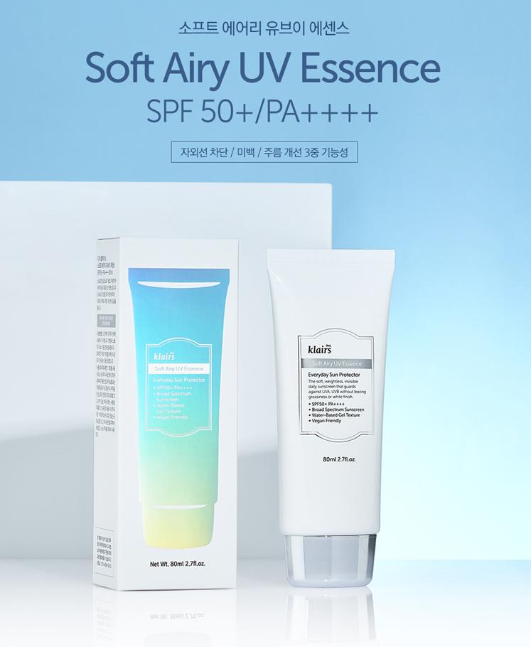 Kết quả hình ảnh cho Klairs Soft Airy UV Essence SPF50+ 80ml