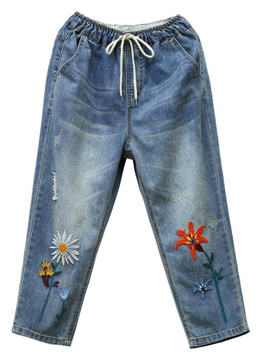 Quần jean bò ngố baggy thêu hoa cúc họa mi chất vải mềm thoáng QB17 6