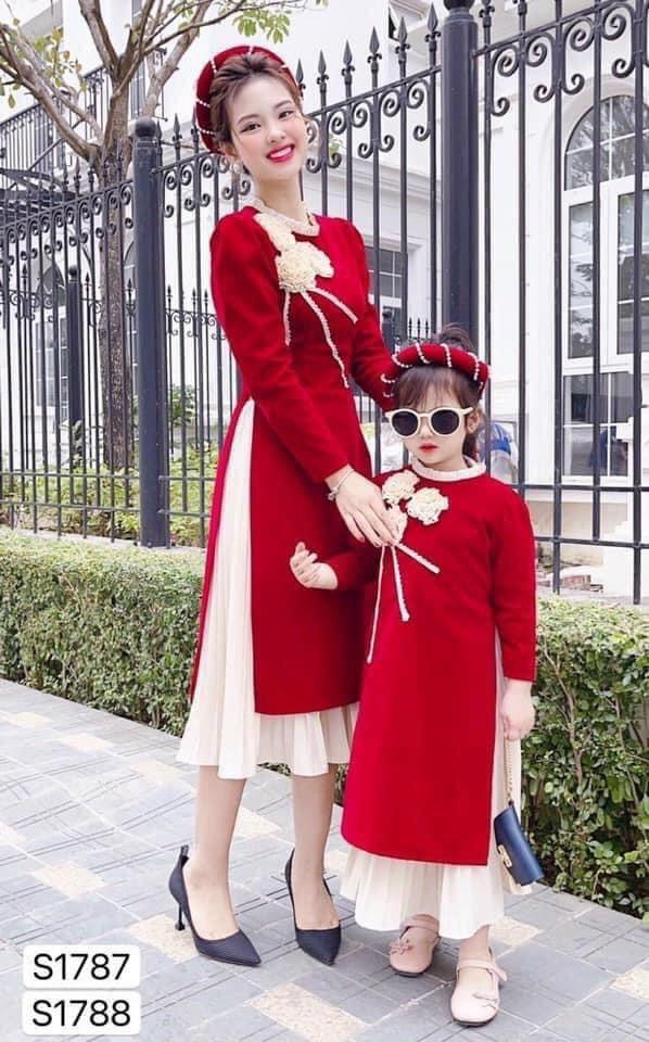 Sét Áo Dài Cách Tân Du Xuân Phối Hoa Ngực Chân Vấy Xếp Li Có Size Cho Mẹ Và Bé Tùy Chọn Chất Liệu Nhung Mềm Mịn Ấp Áp Thời Trang 4YOUNG 7