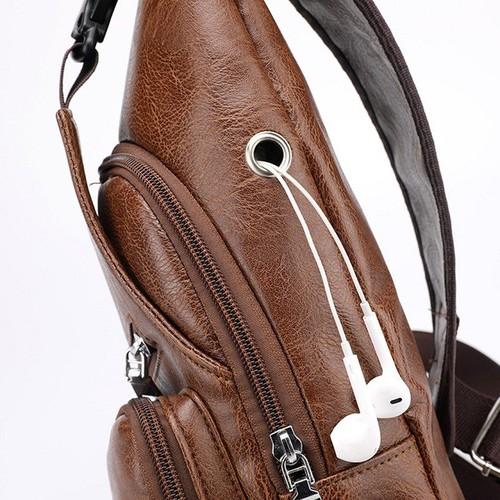 Túi đeo chéo nam da PU tiện dụng- nâu đen 3