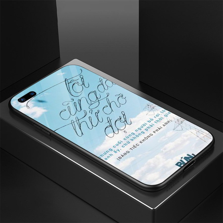 Ốp kính cường lực dành cho điện thoại Oppo A3S/A5/realme C1 - ngôn tình tâm trạng - tinh2098