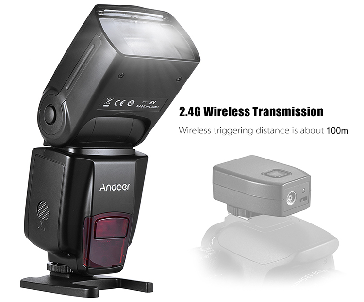 Andoer AD560 IV 2.4G Wireless On-Camera Slave Speedlite GN50 LCD For Canon