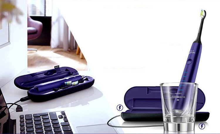 Philips (PHILIPS) electric toothbrush HX9372 / 04 diamond bright white type charging adult acoustic shock charm purple diamond
