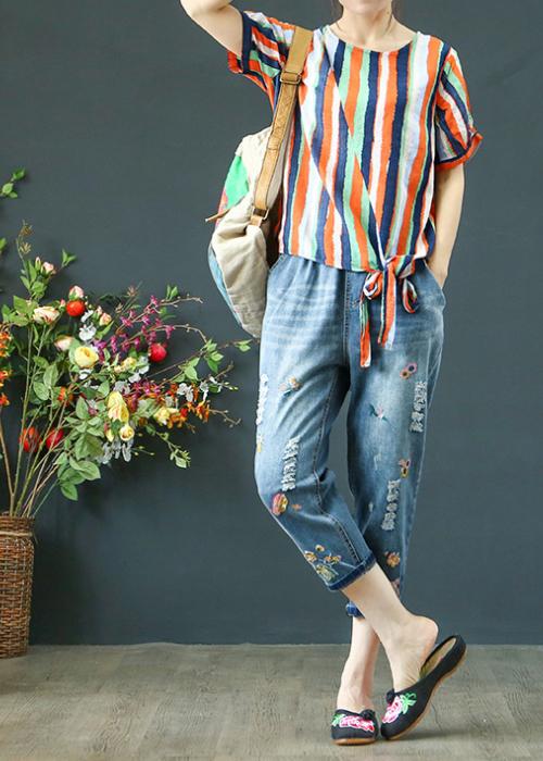 Quần jean baggy nữ thêu hoa hàng cao cấp xuất khẩu QB19 4