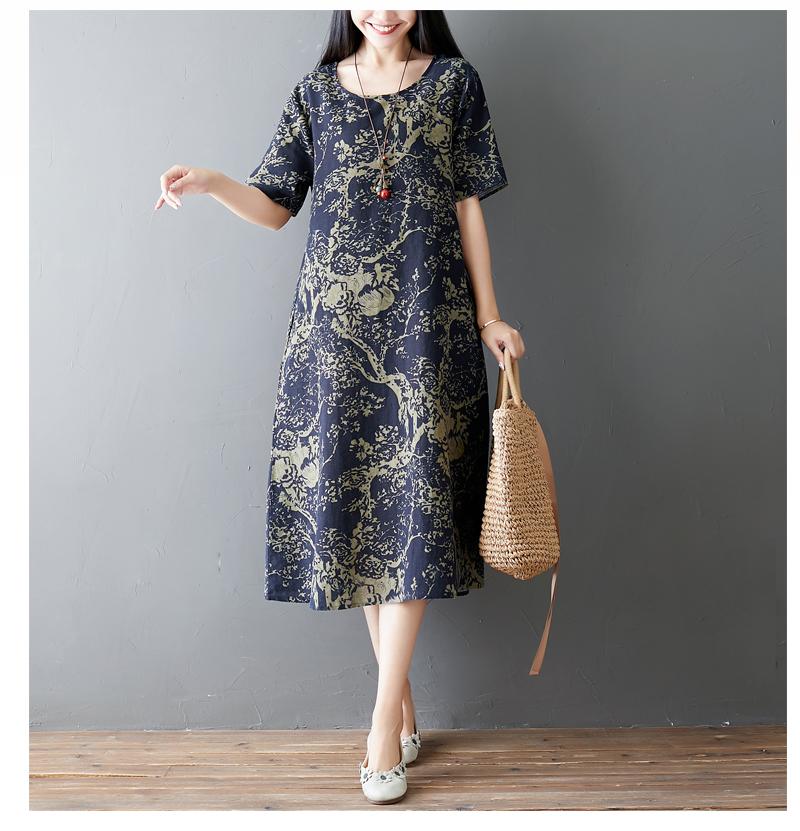 Đầm suông trung niên họa tiết LAHstore, chất thô mềm mát thích hợp mùa hè, phong cách Hàn Quốc (Xanh than họa tiết vàng) 6