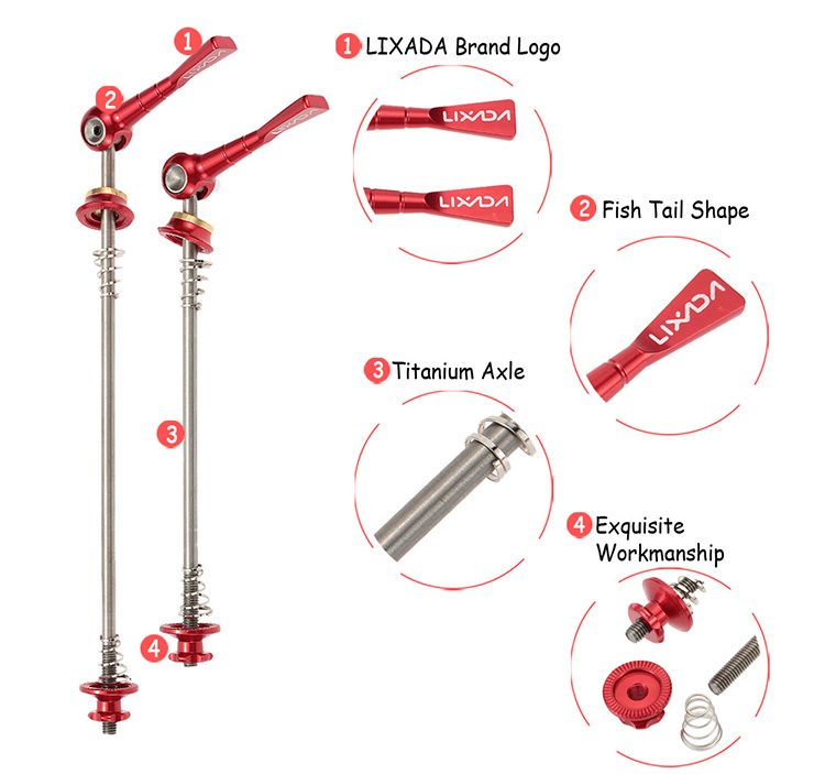 Lixada 2Pcs Ultralight Bicycle Skewers Quick Release Titanium Axle QR Skewer Mountain Road Bike Bicycle Cycling MTB - Red