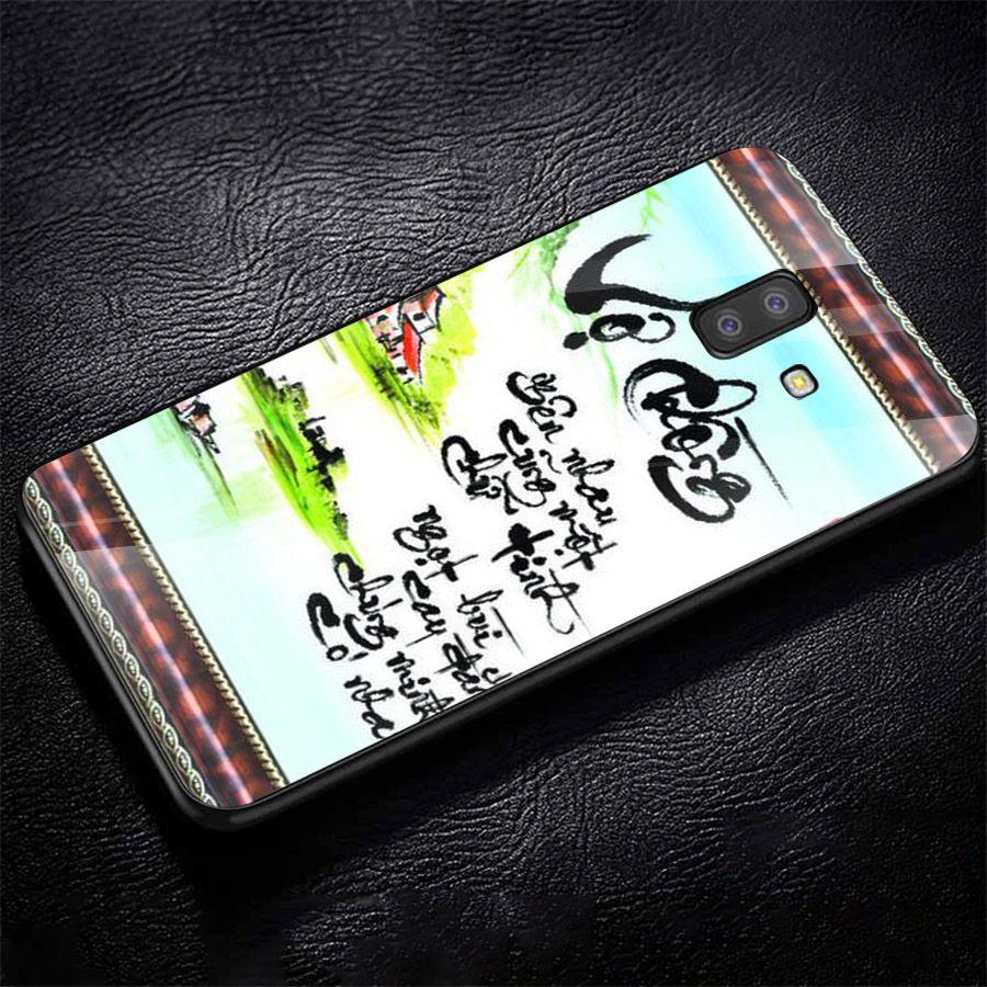 Ốp kính cường lực dành cho điện thoại Samsung Galaxy J4 - J6 - J6 PLUS/J6 PRIME - J8 - thư pháp - tp056