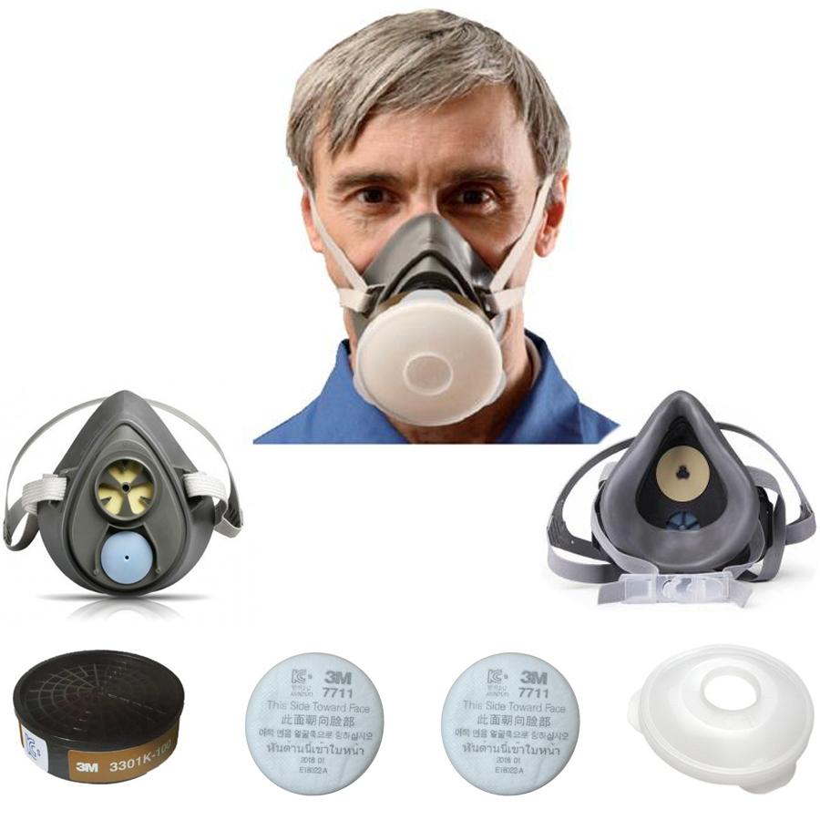 Bộ mặt nạ chống bụi , chống mùi , phòng độc cao cấp chính hãng 3M 3200 , phin lọc 3M 3301K-100 , tấm lọc 3M 7711 , nắp đậy 3M 774 và tặng móc treo khóa | Tiki