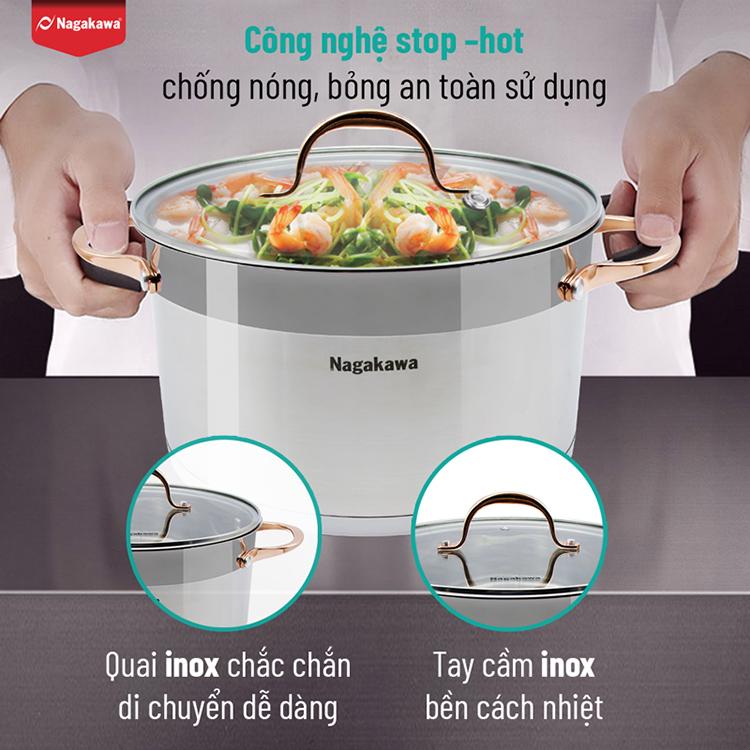 Bộ 3 nồi inox cao cấp 5 đáy Nagakawa NAG1352 (16cm, 20cm, 24cm) dùng cho mọi loại bếp - Hàng Chính Hãng