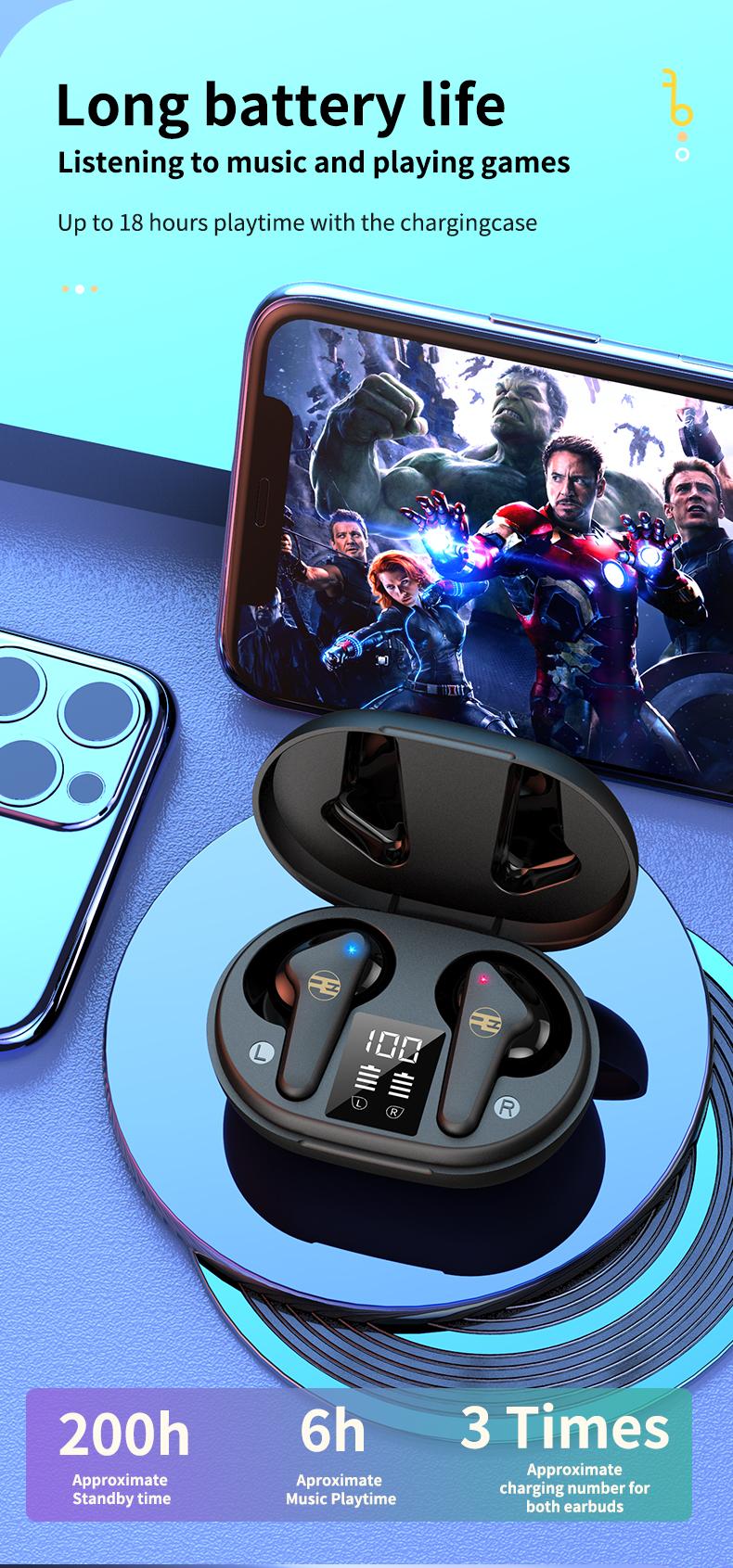 Tai Nghe Bluetooth V5.0 True Wireless Không Dây Reroka Torpedo 2021 Cảm Ứng Vân Tay Âm Thanh Hi-Fi  Bass Căng Trầm Pin Trâu Hiển Thị Mức Pin Đèn Led Chống Ồn Chống Nước Đổi Tên Thiết Bị Kiểu Giáng Thể Thao Đeo Chắc Tai 3 Màu Trắng Hồng Đen- Hàng Chính Hãng7