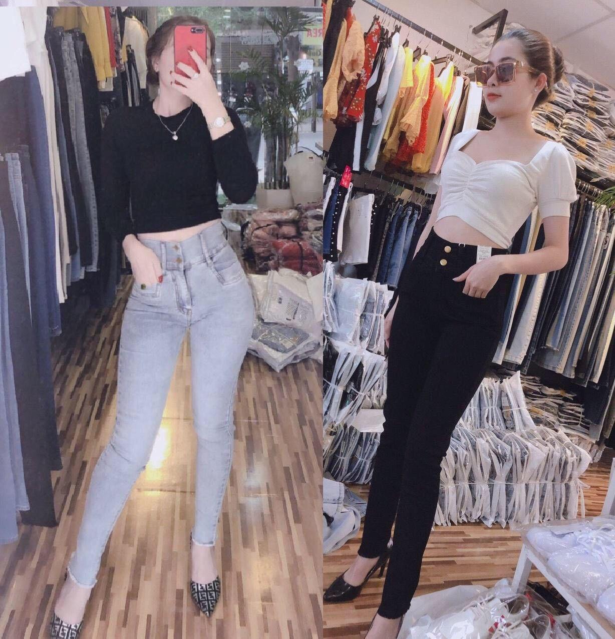 Quần jean nữ lưng cao ôm body 2 túi trước vải mềm co giãn hình thật 10