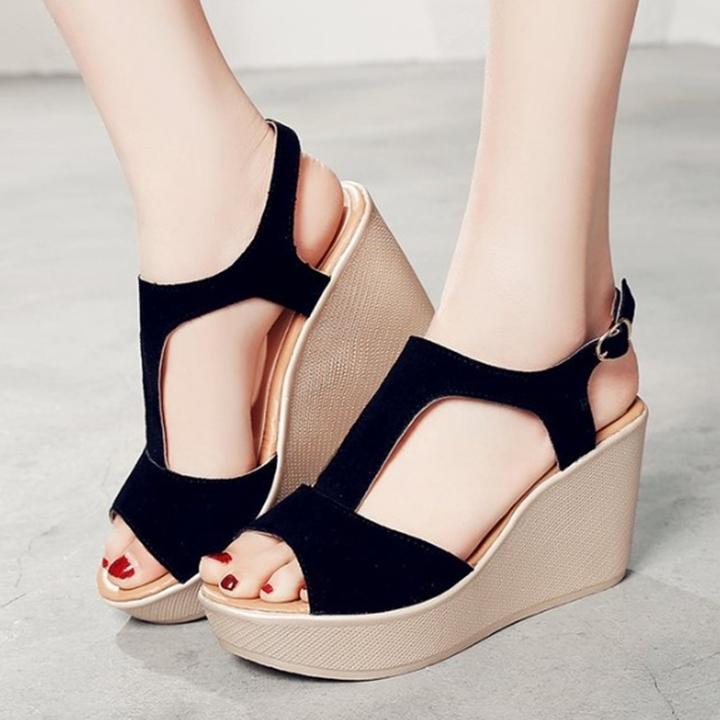 Giày Sandals nữ đế xuồng cao 7cm quai chữ T da lộn siêu nhẹ C33 4