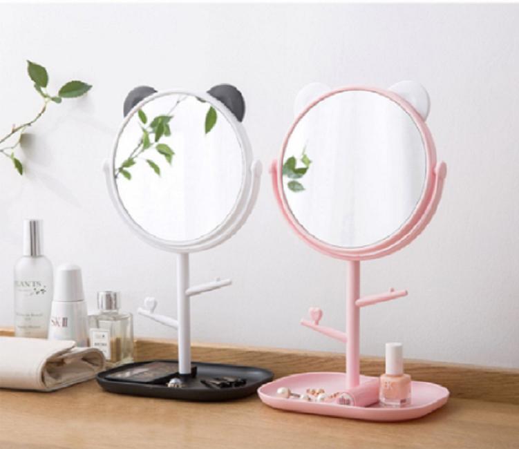 Gương trang điểm tai mèo tròn xoay 360 độ 2