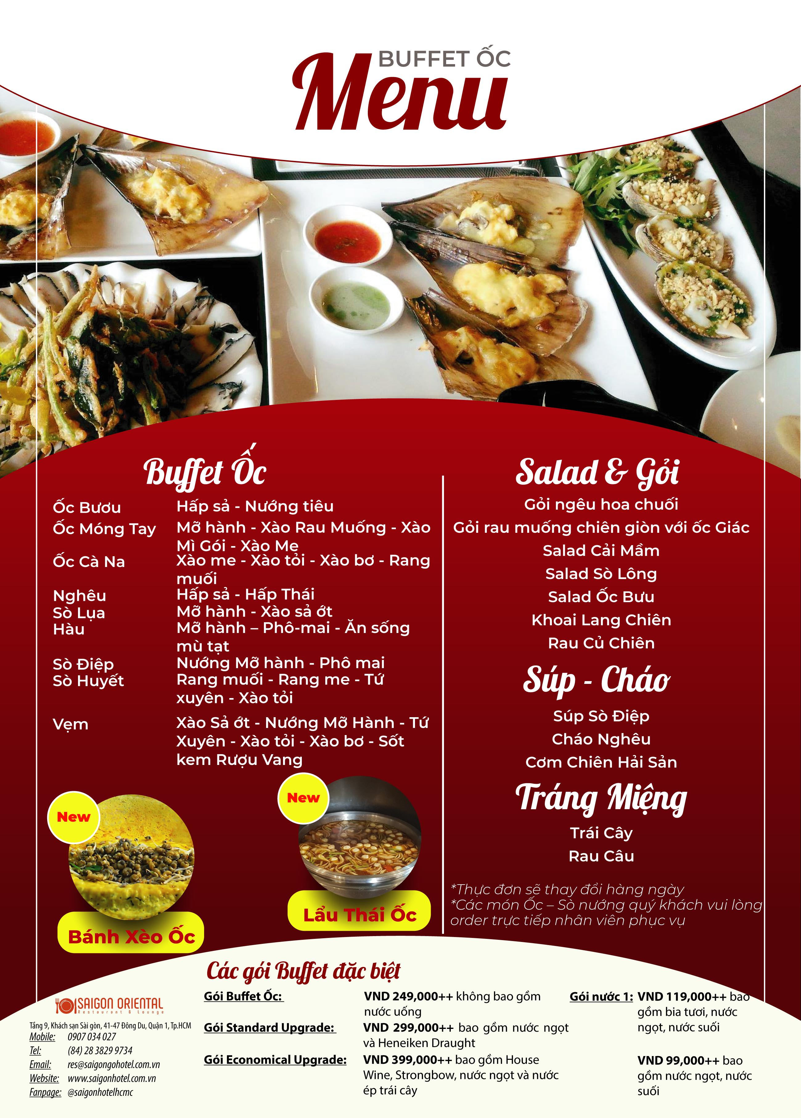 Buffet Ốc Buổi Tối Cuối Tuần Hơn 50 Món - Bia Tươi Tiger Không Giới Hạn Tại Sài Gòn Hotel 3*