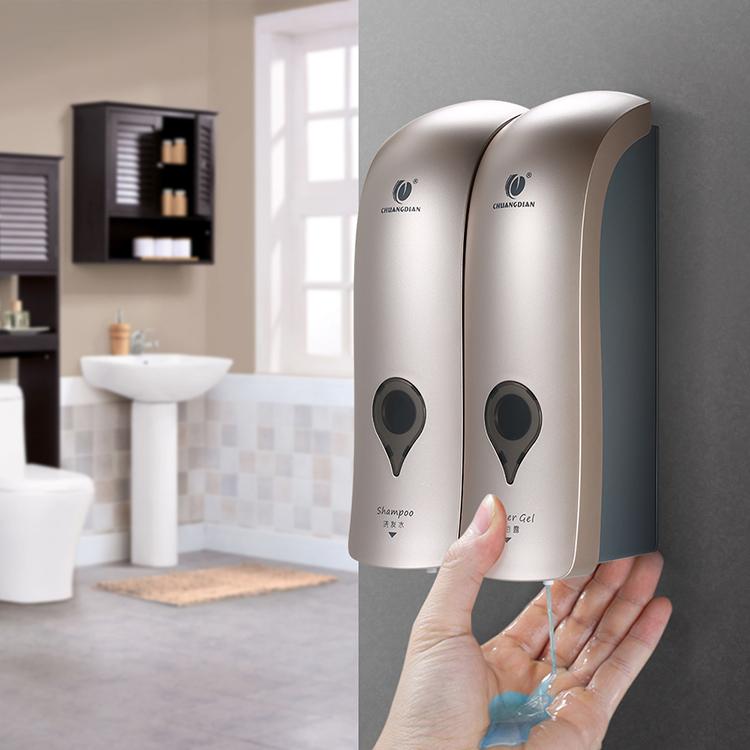 CHUANGDIAN 300mlx2 Wall Mounted Double-Head Manual Soap Dispenser Shower Gel Liquid Shampoo Dispenser Holder for Hotel