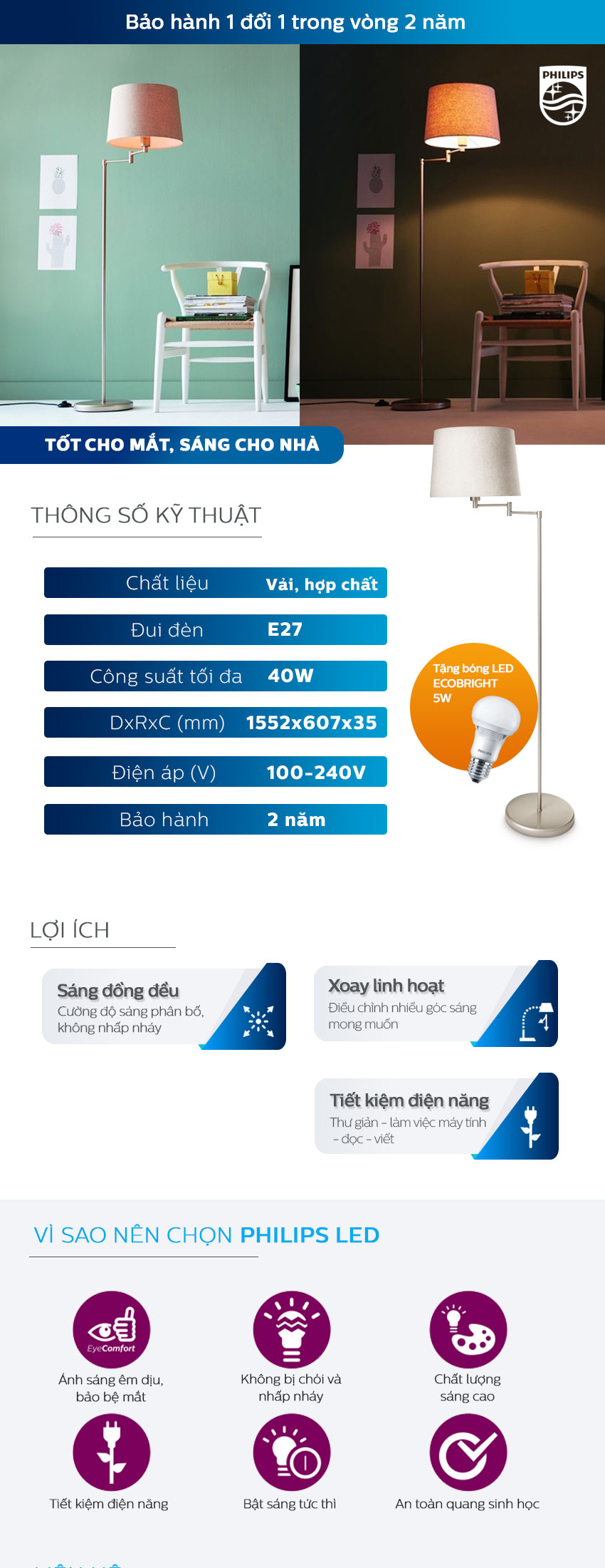 Đèn Trang Trí Để Bàn Philips 36134 Donne Floor Lamp (40W) - Tặng 1 Bóng Đèn LED Philips Ecobright 5W - Ánh Sáng Trắng - Hàng Chính Hãng