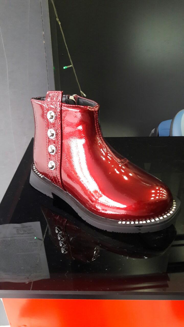 Giày Boots Da Bóng Đính Đinh Tán Cherry - GBNDT 1