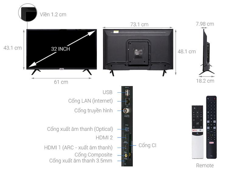 Smart Tivi TCL 32 inch L32S6800 - Hàng Chính Hãng