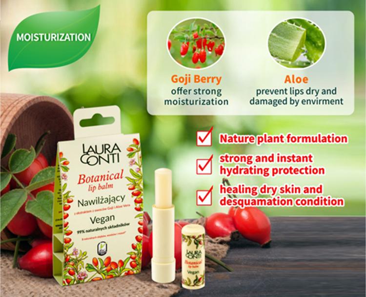 Botanical Lip Balm Vegan MOISTURIZATION- goji berry and aloe