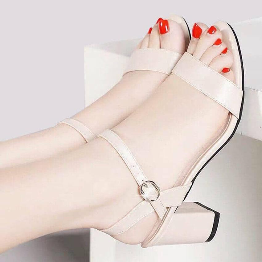 Giày cao gót nữ gót vuông 5cm quai ngang màu kem