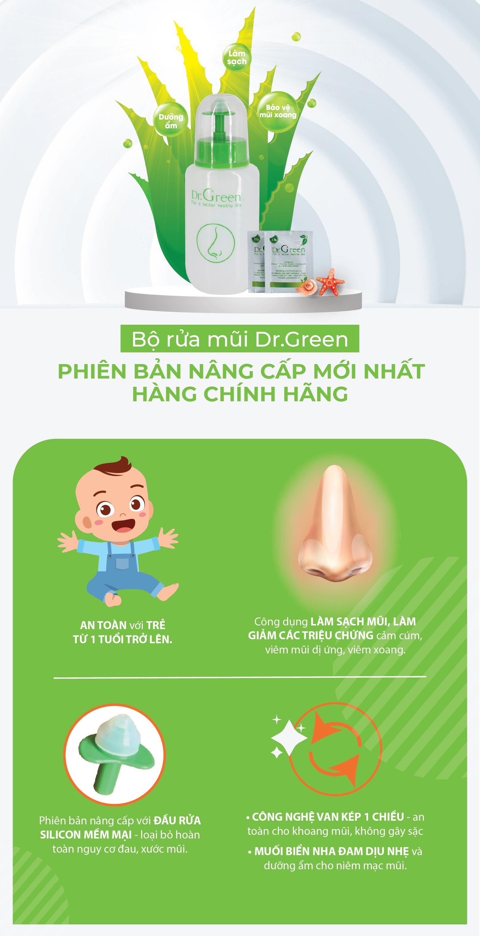 Combo Bình rửa mũi Dr.Green (2 bình kèm 30 gói muối nha đam), Đầu rửa silicone mềm mại, công nghệ van kép 1 chiều chống sặc, điều trị viêm mũi, sổ mũi, viêm mũi dị ứng, viêm xoang 1