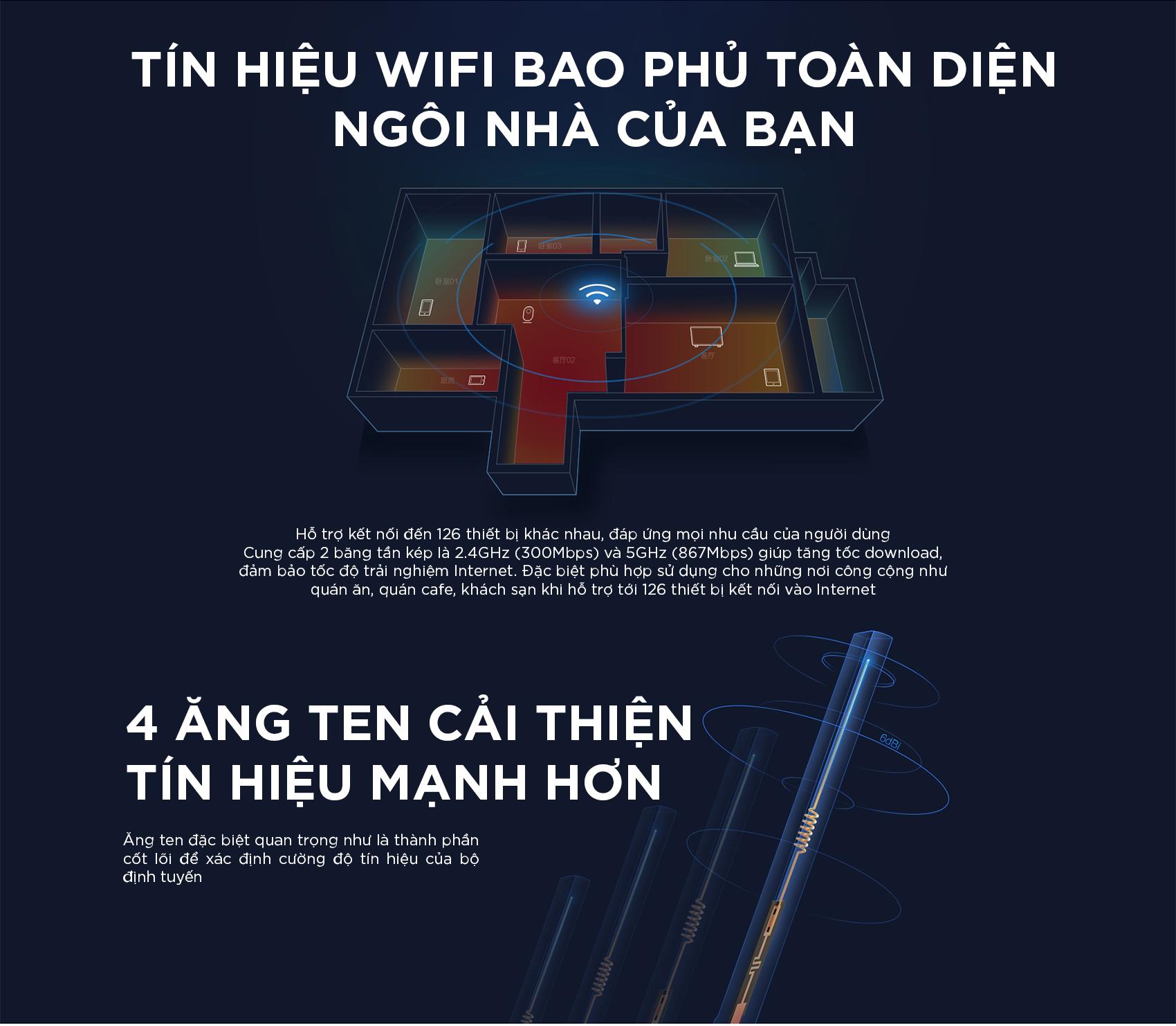Bộ Phát Sóng Wifi Xiaomi Router Gen 3 Băng Tầng Kép AC1200 128MB - Hàng Chính Hãng