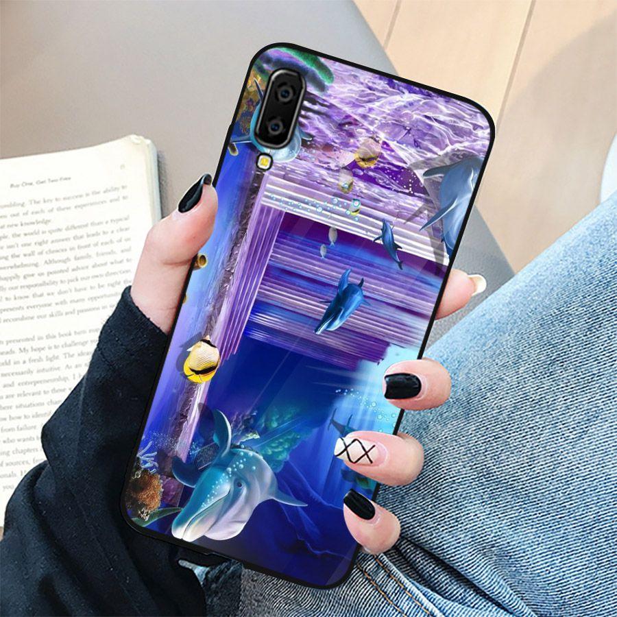 Ốp điện thoại kính cường lực cho máy Samsung Galaxy A7 2018/A750 - bộ sưu tập cá MS BSTCA009