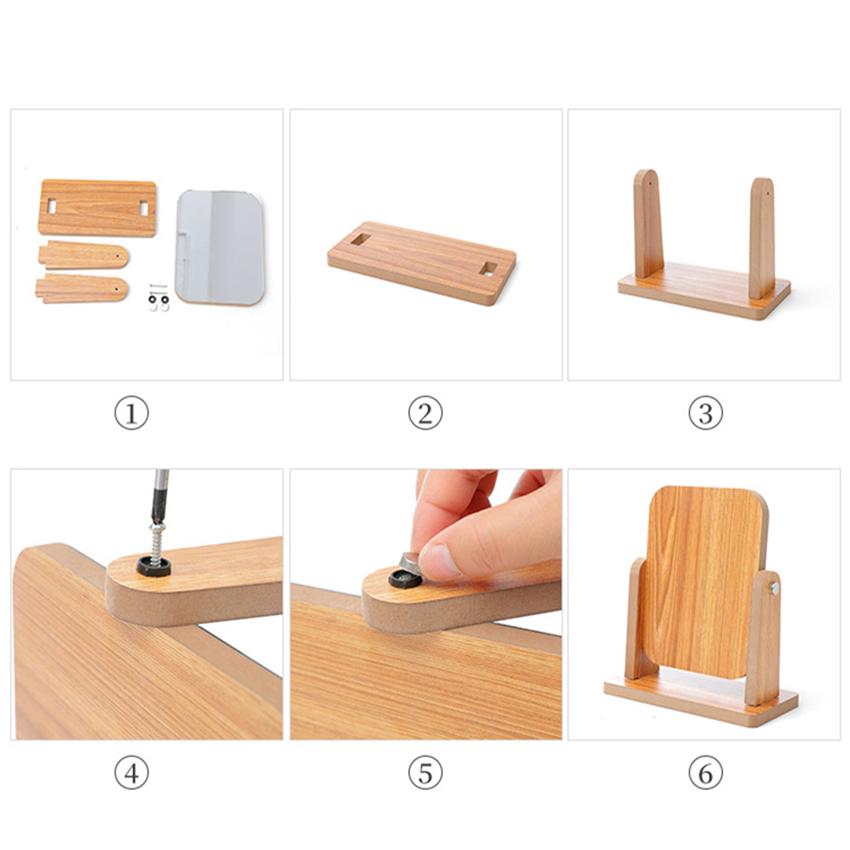 Gương trang điểm để bàn decor mini 13x18cm, xoay 360 độ, chất liệu gỗ ép thân thiện, sang trọng 6
