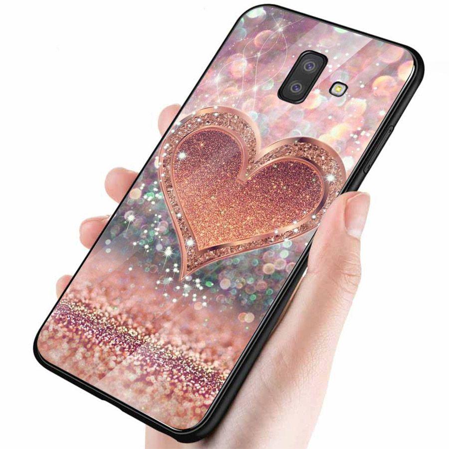 Ốp kính cường lực cho điện thoại Samsung Galaxy J6 - trái tim tình yêu MS LOVE054