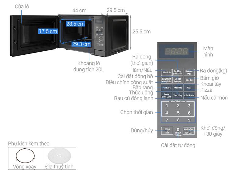 Lò Vi Sóng Điện Tử Bluestone MOB-7819 (20L) . - Hàng chính hãng