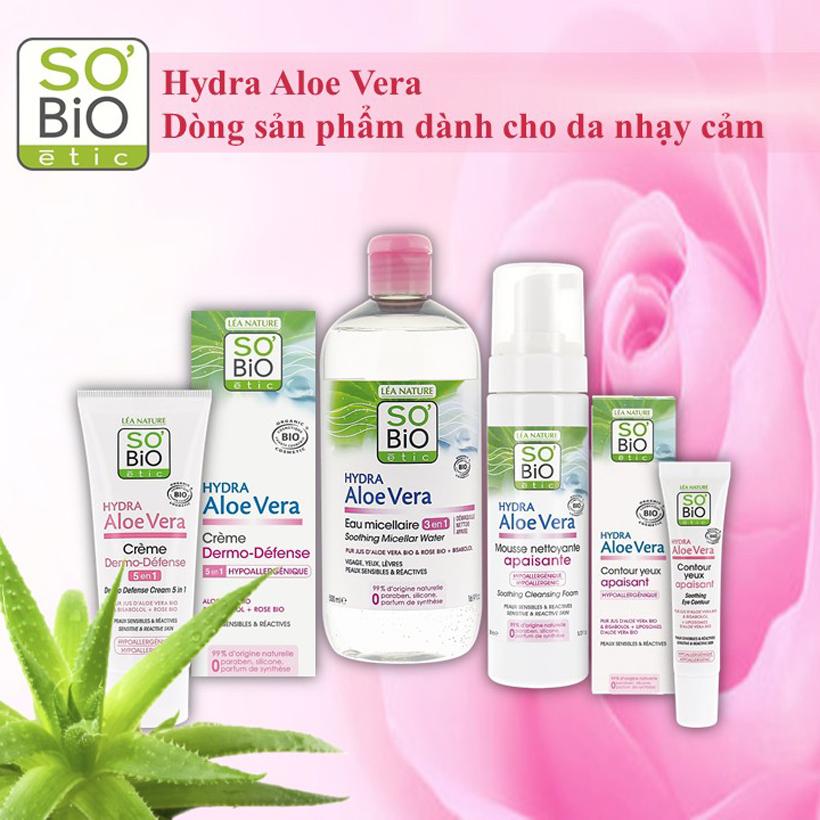 Foam rửa mặt hữu cơ Sobio etic với tinh chất lá lô hội dành cho da nhạy cảm 150ml