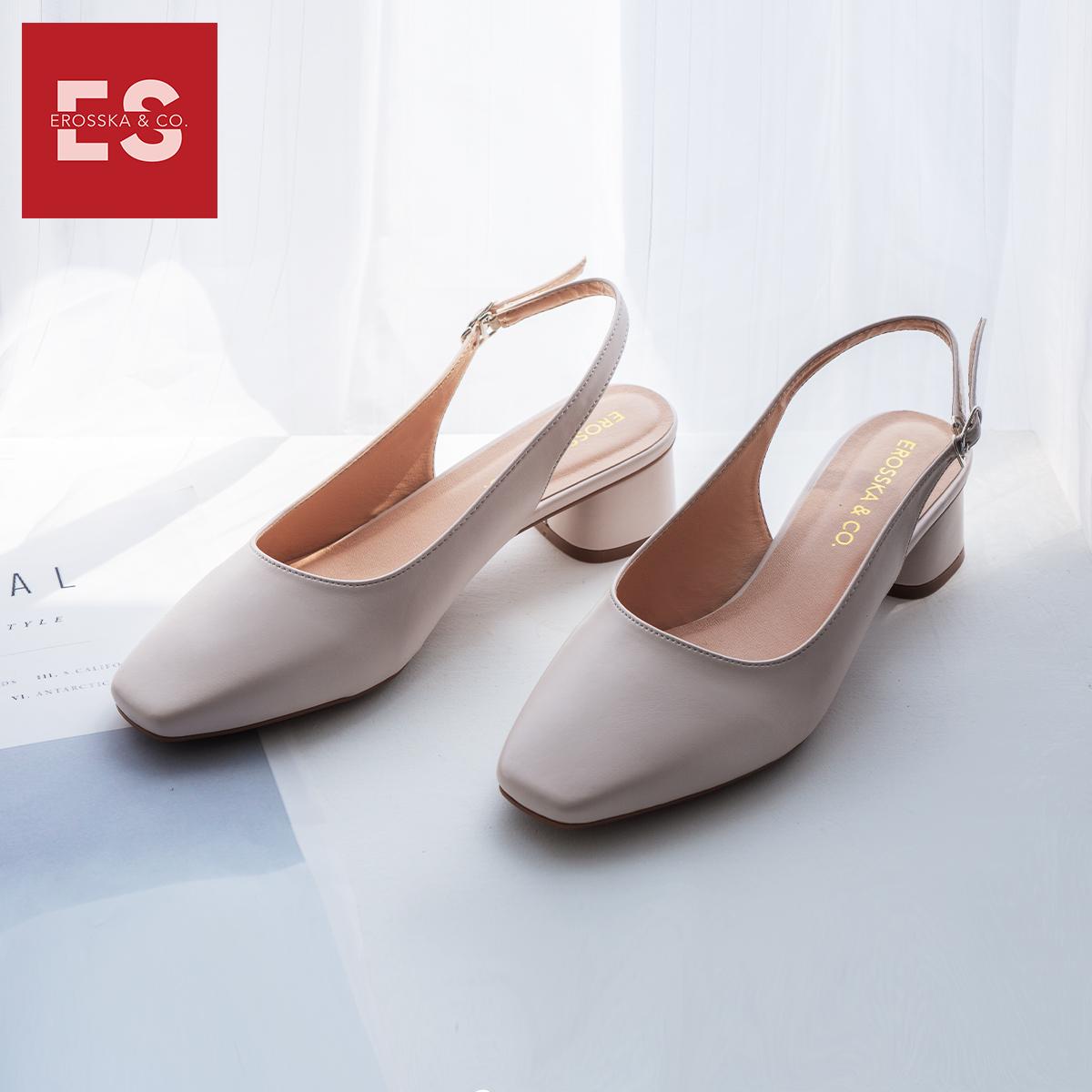 Giày nư , gia y cao gót slingback Erosska mũi vuông kiểu dáng basic gót vuông vững chắc cao 5cm - EL013 4