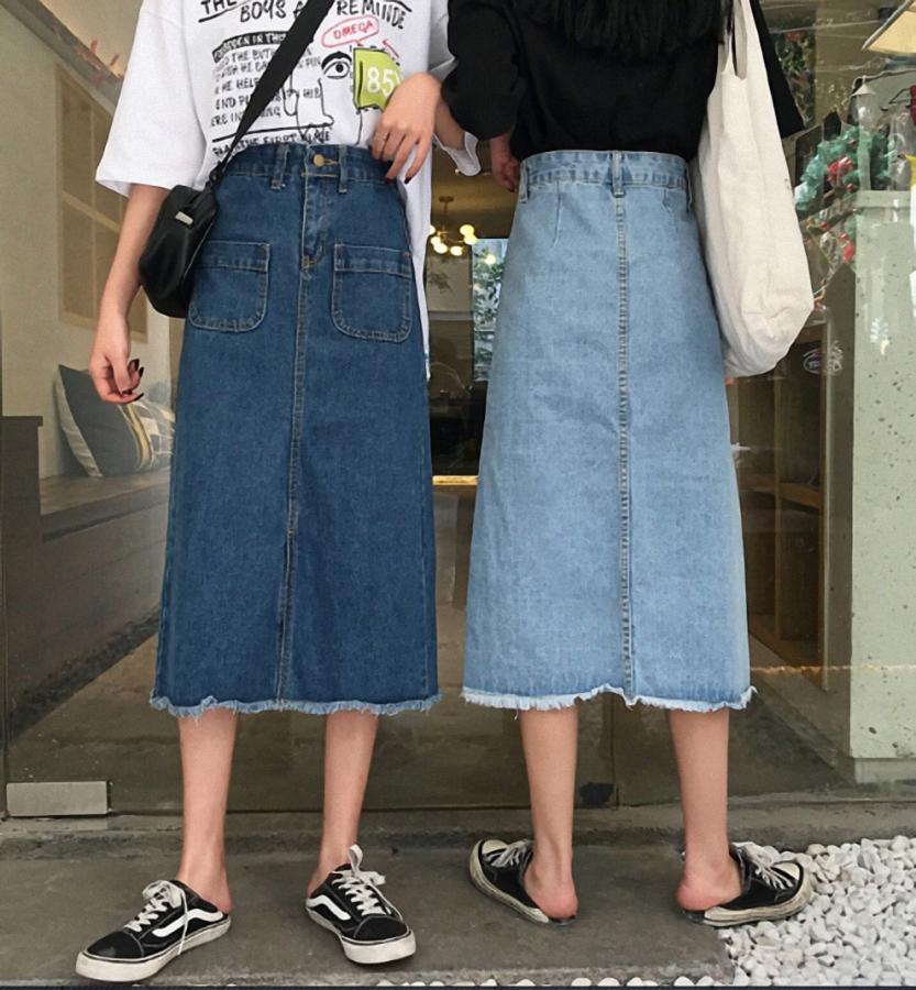 Chân váy JEAN nữ dáng dài dễ thương - CV09 2