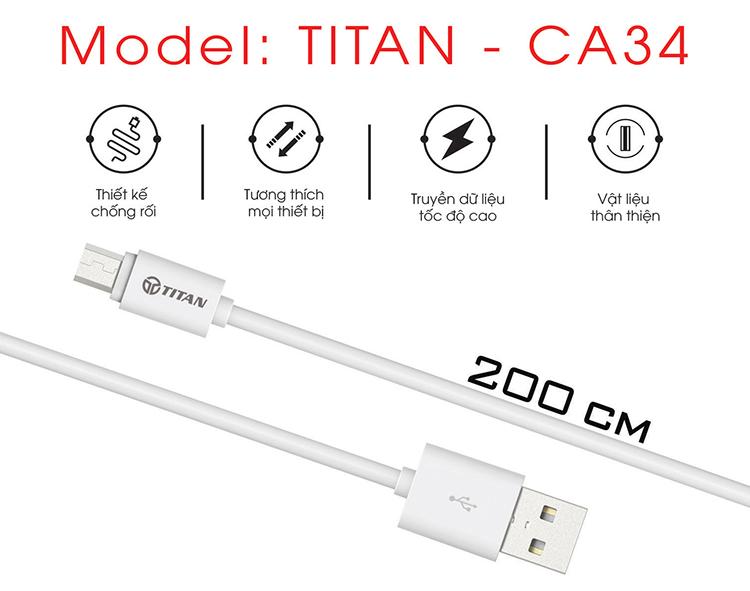 Dây Cáp Sạc Nhanh Chân Micro 2.4A TITAN - CA34 2m
