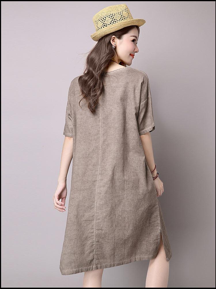 Đầm suông dạo phố chất thô họa tiết LAHstore, chất liệu vải bông mềm họa tiết độc dạo, thời trang Hàn Quốc - Xanh xám - XXL 2