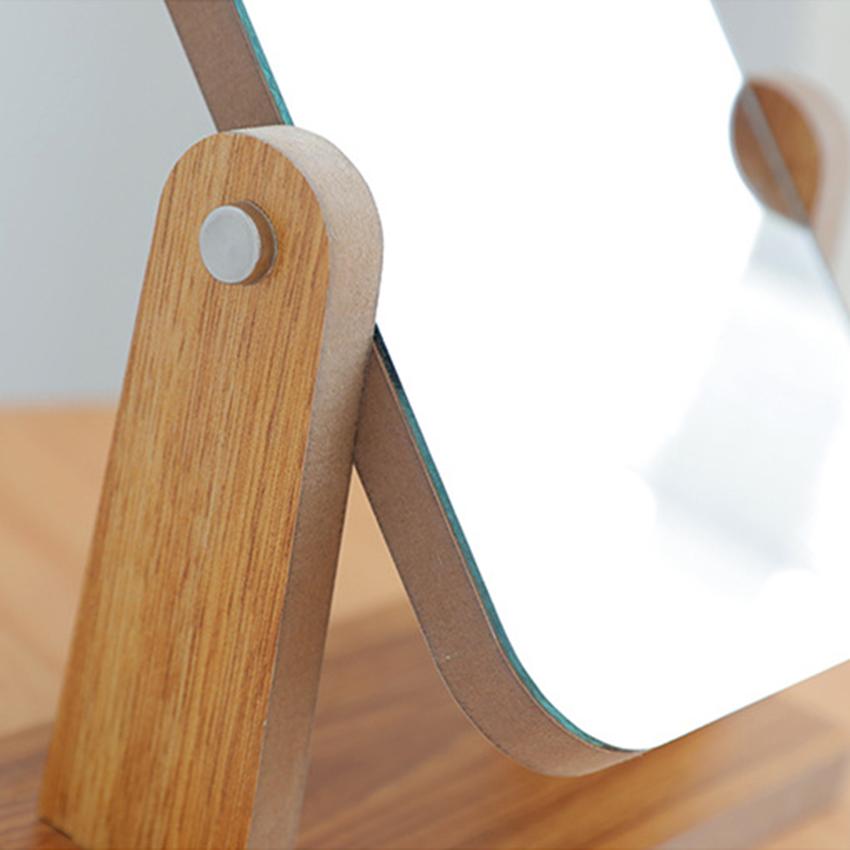 Gương trang điểm để bàn decor mini 13x18cm, xoay 360 độ, chất liệu gỗ ép thân thiện, sang trọng 3