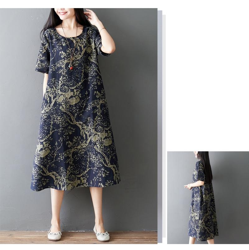 Đầm suông trung niên họa tiết LAHstore, chất thô mềm mát thích hợp mùa hè, phong cách Hàn Quốc (Xanh than họa tiết vàng) 5