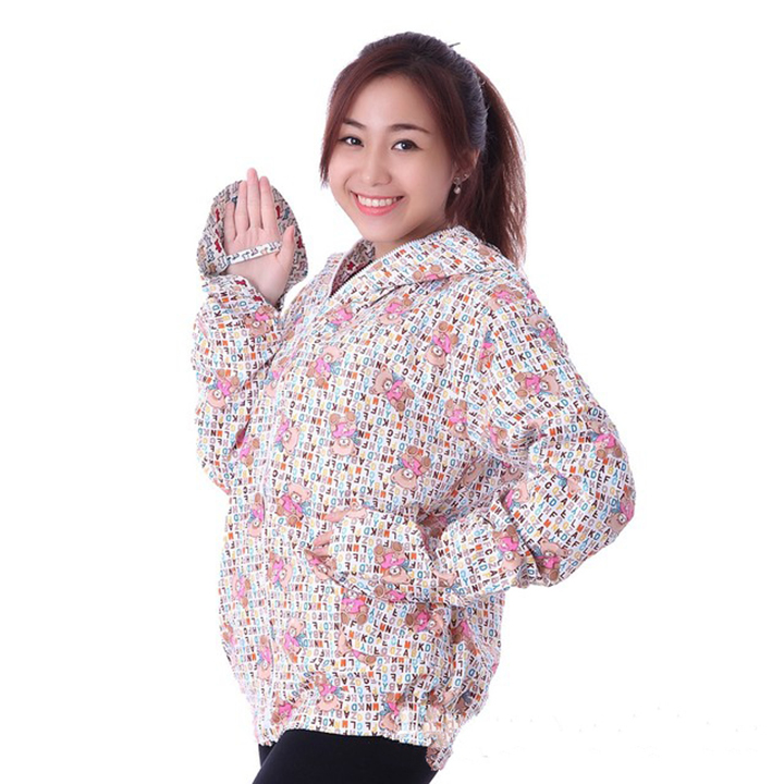 Áo chống nắng vải thô 2 lớp dáng ngắn nữ 3