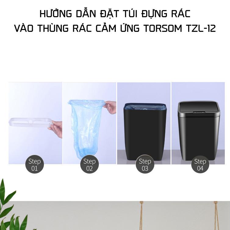 Thùng đựng rác thông minh 12 lít TORSOM TZL-12 tự động đóng mở sạch sẽ sang trọng vệ sinh gia dụng aloma